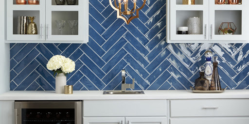 Costa Clara Wall - Costa Clara Blue Wave CC87 3x12 herringbone pattern